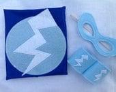 Blue Newborn Super Hero Costume Photo Prop with Mask and Cuffs