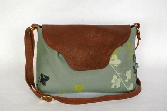 Nina Leather Flap Bag Smokey Teal Canvas with Wildwood Print