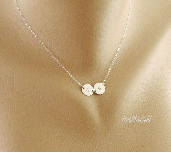 TWO Initial Charm Necklace / Tiny Monogram Disc Jewelry / STERLING SILVER, Mom and Child, Couple Jewelry, Sister, Best Friends Necklace