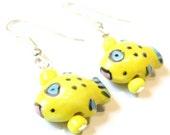 Tropical Fish Earrings -- Porcelain Beaded Earrings Kawaii Earrings