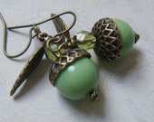Green Acorn Earrings, Woodland Jewelry, Nature Jewelry, Autumn, Antique Brass