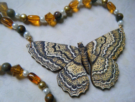 Beautiful Wooden Moth Necklace, Beaded, Autumn, Nature, Woodland Jewelry, Entomology