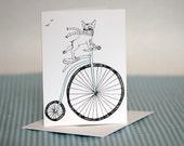 Boston Terrier Riding Bike Greeting Card