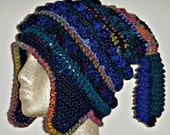 One of a Kind Crochet Hat with Earflaps and Corkscrews Freeform Freestyle