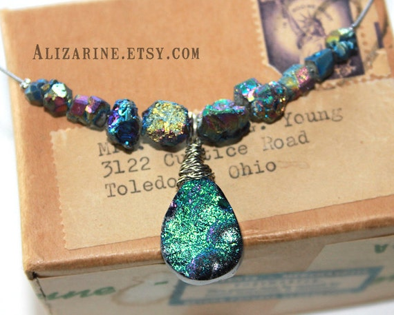 Strung-Out recycled guitar string choker with titanium pyrite and druzy pendant