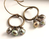 MISTY KISSES - Artisan Brass Freshwater Pearl Earrings