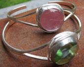 Light Green Glass Cuff Bracelets by Heidi Urbanski on Etsy