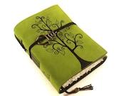 Leather journal, Green, Notebook: Swirl Tree