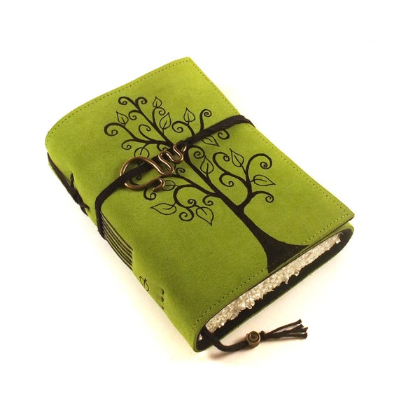 Leather journal, Green, Notebook: Swirl Tree