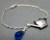 "Watering Blooms Bracelet // Silver Watering Can Charm // Blue Teardrop Glassbead // Silver Wire Wrapped // 7"" Silver Chain"