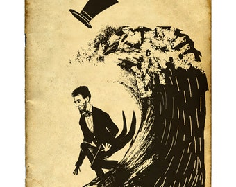 Abe Surfing ... limited edition giclee art print ... wave • history • president • Abraham Lincoln • humor • ocean • surfer •historian • gift