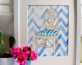 SWEDISH CHAIR on Blue Chevron
