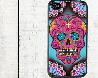 Sugar Skulls Phone Case for  iPhone 4 4s 5 5s 5c SE 6 6s 7  6 6s 7 Plus Galaxy s4 s5 s6 s7 Edge