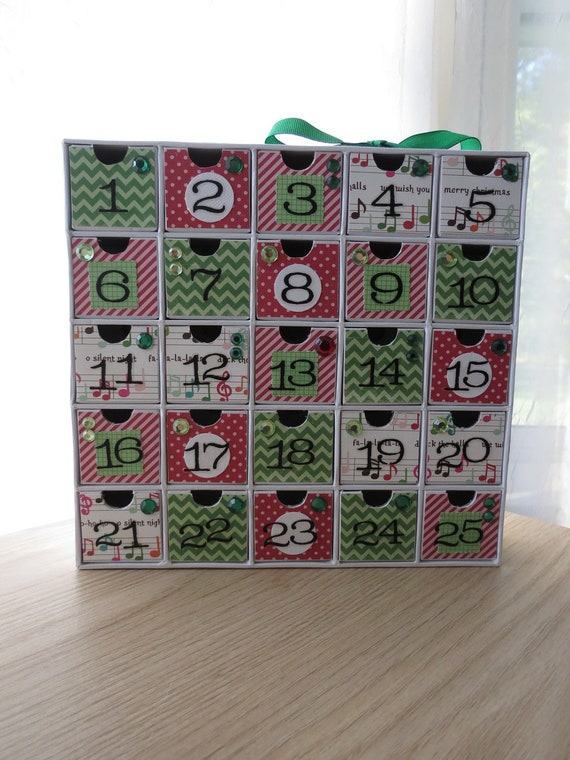 Advent Calendar - Contemporary Holiday Countdown - Music Notes and Cheveron