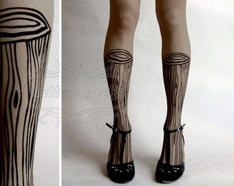 thigh-high Wooden Legs TATTOO gorgeous  stockings Grey