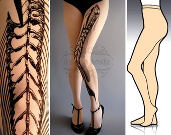 L/XL Fish Bone tattoo tights / stockings /  full length /  pantyhose / nylons Ultra Pale