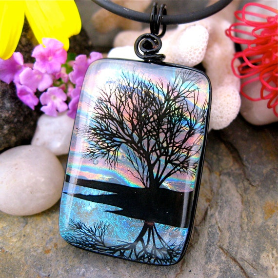 Dichroic Glass Pendant , Sunset Reflection Tree , Fused Glass Jewelry