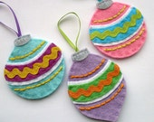 DIY Vintage Felt Baubles - PDF Sewing Pattern, Christmas ornaments, decorations