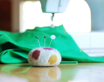 Felted Pincushion . Multi-color spot