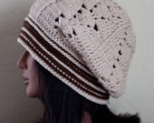 SALE Cream and Dark Brown Slouch Hat