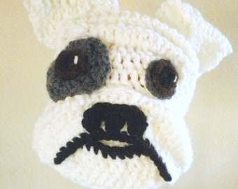 Crochet Bulldog Hat- White Dog Beanie with Floppy Ears, Wrinkly Snout - Animal Hat for Halloween Costume or Dress Up