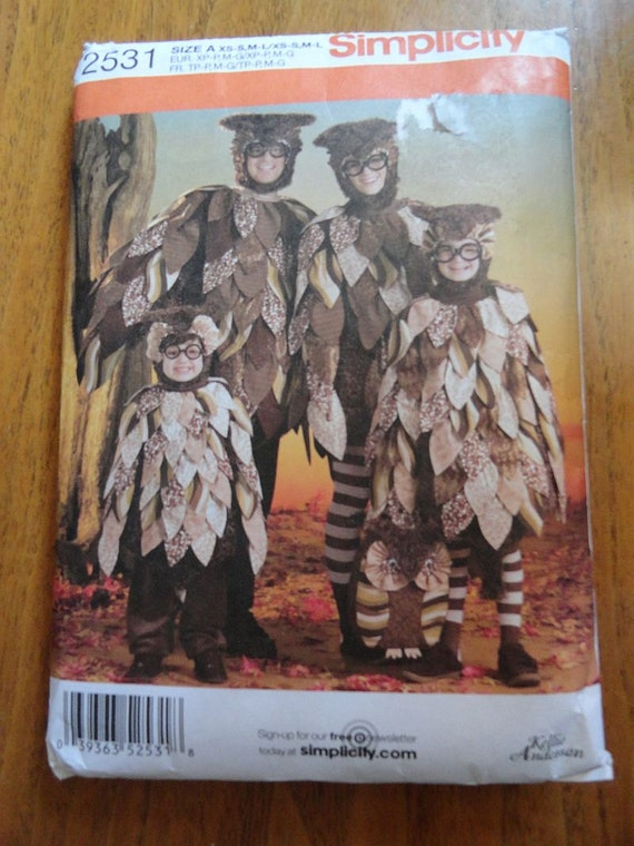 Simplicity 2531 OWL Halloween Costume Pattern by Kellie Anderson for Child, Teen or Adult Sz XS-L