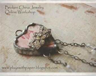 Make Beautiful Soldered Broken China Jewelry Online Video Workshop Learn How to Solder Tutorial by Shari Replogle