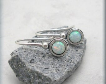 Opal Earrings Dangle Gemstone October Birthstone Sterling Silver Jewelry (SE961)