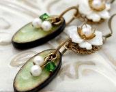 50 PERCENT OFF Green Flower Earrings - Oval Wood Tiles, MOP Flowers, Pearls