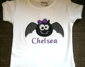 Halloween Girly Bat Appliqued Tshirt