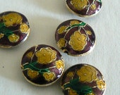 SALE 6 18x7mm Handmade Cloisonne Beads Cherry Blossom Round Flat Gold Purple