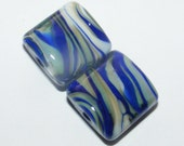 Glass beads lampwork - handmade glass beads - glass bead supplies - blue - ivory - teal - bead pair - matching beads - SRA BHV