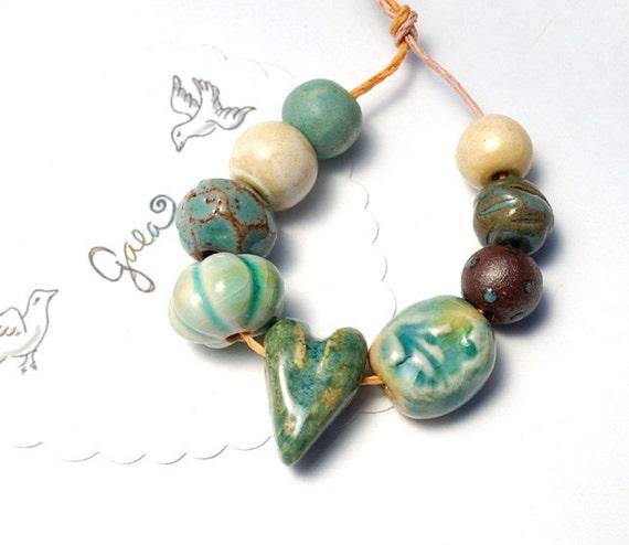 RESERVED for the lovely JLynnJewels / Blues / Ceramic Heart Bead Set