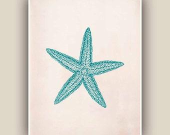 Starfish Print,  Sea Star 8x10 print,  Marine Wall Decor, Nautical art,  Seashore art  Print, Coastal Living