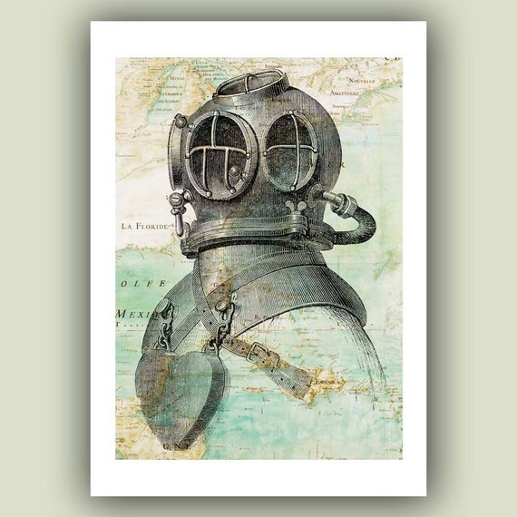 Diver helmet Print, 5x7 Print on old  Mexico Gulf  map, Nautical  Art Print, Matte Print