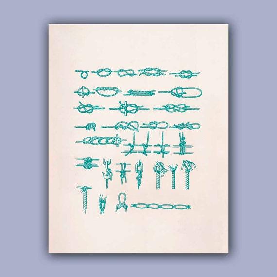 Marine Knots Print in green turquoise,11x14  PRINT, Oceanic art,  Marine and  Nautical art, Coastal home decor  Sea related Blue print