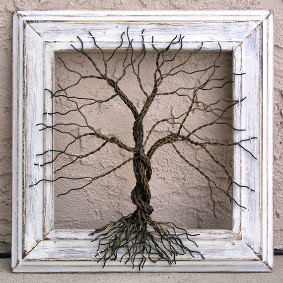 Original wire tree abstract sculpture painting wire tree for How to make a wire tree of life sculpture
