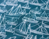 Sailing Ships Tea Towel - Linen / Cotton MARINE BLUE
