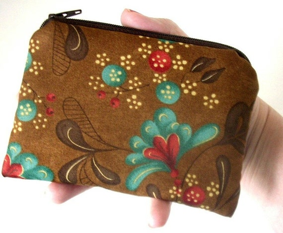 SALE Zipper Pouch Eco Friendly  Little coin purse Padded Ipod or  any Gadget Case - Fall Teal