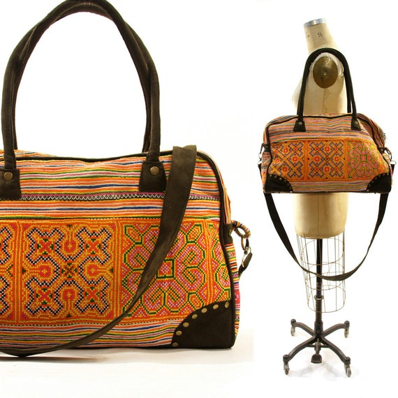 Embroidered Weekender Bag made from Upcycled Hmong Cotton Dresses