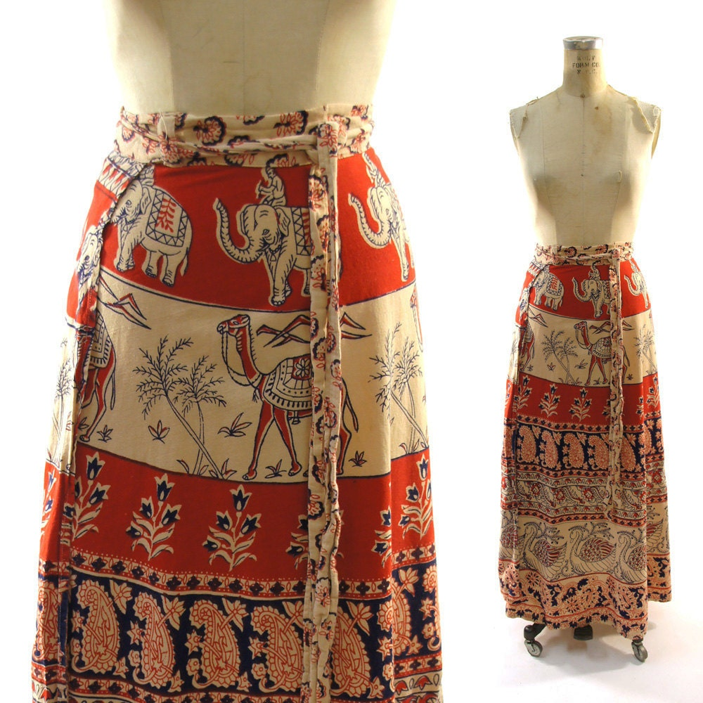 70s Indian Batik Wrap Around Maxi Skirt By Spunkvintage On