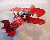 Airplane Ornament, Handmade from tin cans, Red Panda Oyster Sauce