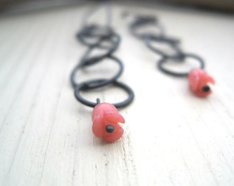 Chain and Rose Earrings