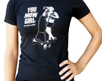 You Mow Girl Women's Tee Shirt-Gertie the Bavarian Bar Maid-Hand Printed Cotton-Black- Funny TShirt