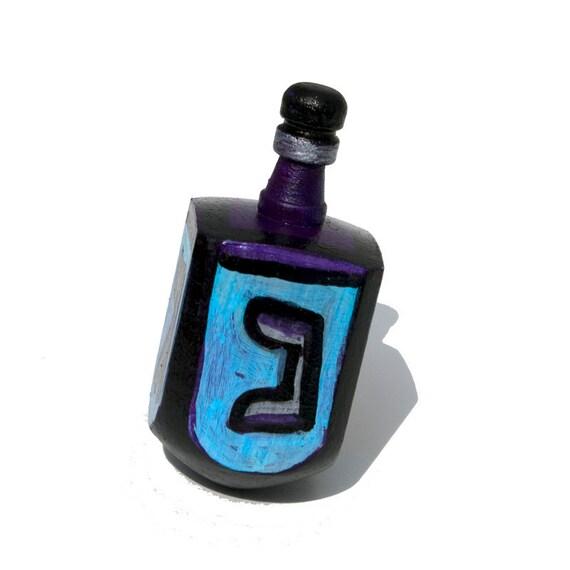 Handpainted Blue Dreidel - Hanukkah Gift - Blue, Purple, Silver and Black, Judaica, Jewish Gift