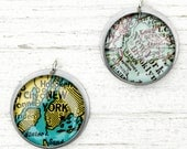 New York City Brooklyn -  Vintage Map Pendant in Handmade Sterling Setting