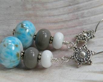 CLOUD Handmade Lampwork Bead Dangle Earrings