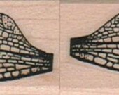 dragonfly wings rubber stamps place cards gifts   wood mounted  number11042  set of two stamps- right and left wings
