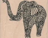 Steampunk Zentangle elephant  rubber stamps place cards gifts  unmounted cling stamp or wood mounted 15984