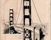 Rubber stamp Golden Gate Bridge wood Mounted  scrapbooking supplies number 14700